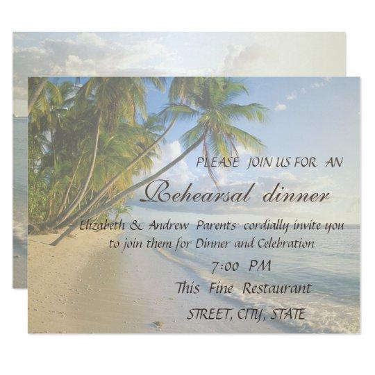 Beach Wedding Seashells  Rehearsal Dinner Card