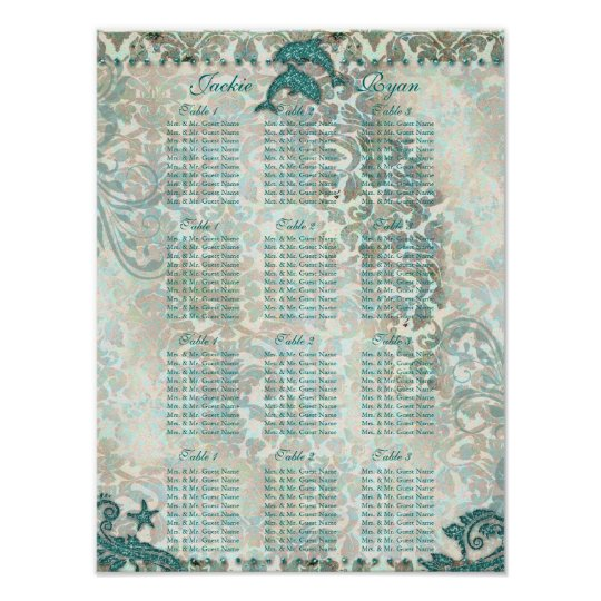 Beach Wedding Seating Chart Dolphin