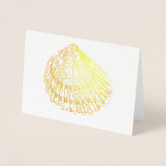 Beach Wedding Shell Card Gold Foil Engagement Card