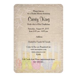 "Beach Wedding Shower Flip flops 5"" X 7"" Invitation Card"