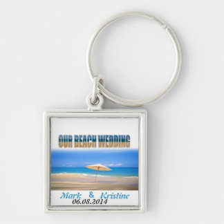 Beach Wedding Souvenirs and Giveaways Silver-Colored Square Keychain