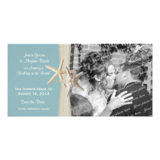 Beach Wedding Starfish Blue Save the Date Photo Customized Photo Card