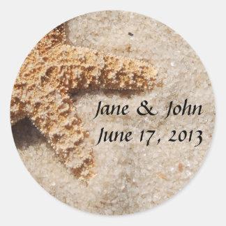 Beach Wedding Starfish Envelope Seals Round Sticker