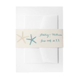 Beach Wedding Starfish Invitation Belly Band