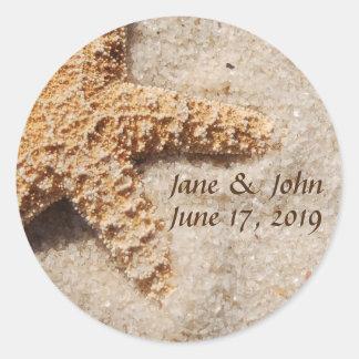 Beach Wedding Starfish on Sand Stickers