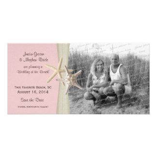 Beach Wedding Starfish Pink Save the Date Photo Card