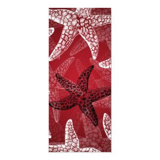 "Beach Wedding Starfish Red 4"" X 9.25"" Invitation Card"