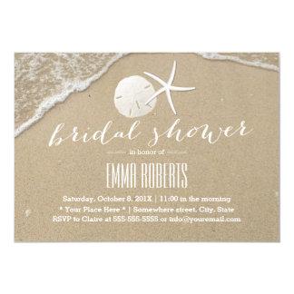 "Beach Wedding Starfish Sand Dollar Bridal Shower 5"" X 7"" Invitation Card"