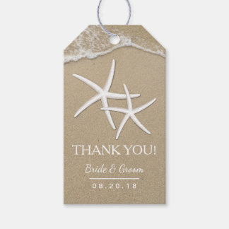 Beach Wedding Starfish & Waves Thank You Pack Of Gift Tags