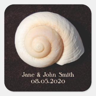 Beach Wedding Stickers: Sea Shell on Black Design Square Sticker