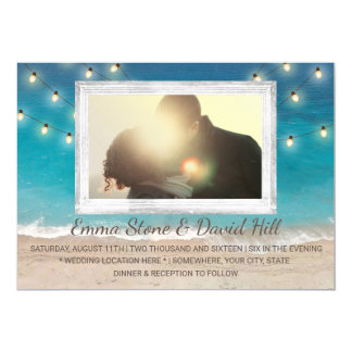 Beach Wedding String Lights with Photo Card