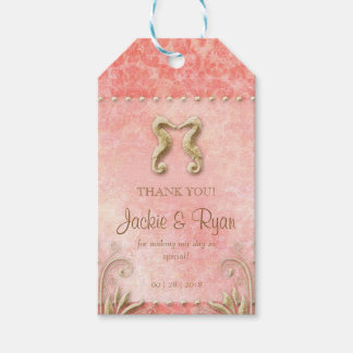 Beach Wedding Tag Seahorse Vintage Coral Gold Pack Of Gift Tags