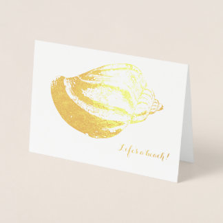 Beach Wedding Thank You Card Gold Foil Shell