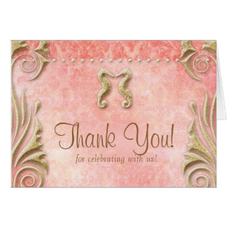 Beach Wedding Thank You Card Seahorse Coral Gold