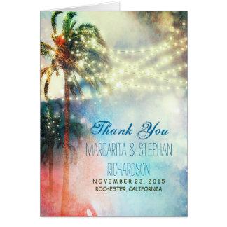 beach wedding thank you card with lights & palms