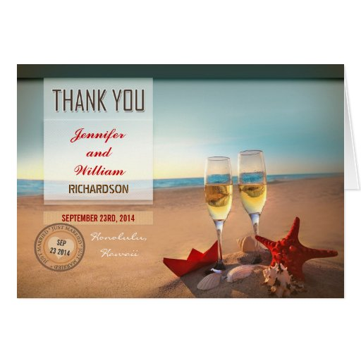 beach wedding thank you cards