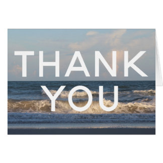 Beach Wedding Thank You w/ Ocean Waves Photo Card