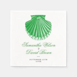 Beach Wedding Vintage Scallop Shell Green Paper Napkins