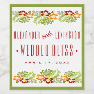 Beach Wedding Wine Label Hibiscus Flowers