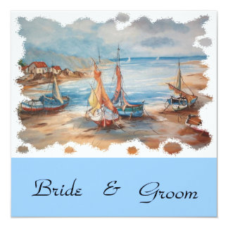 "beach weddings 5.25"" square invitation card"
