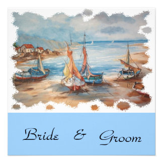 beach weddings custom invite