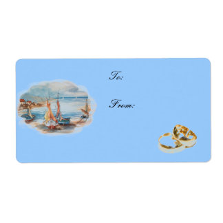 beach weddings shipping label