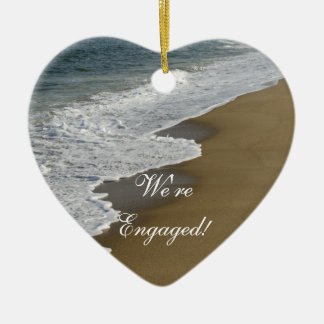 Beach We're Engaged Ceramic Heart Ornament