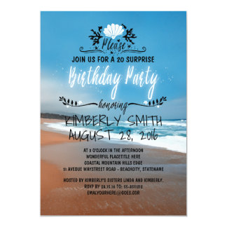 Beach Whimsical and Blue Seaside Birthday Party Card