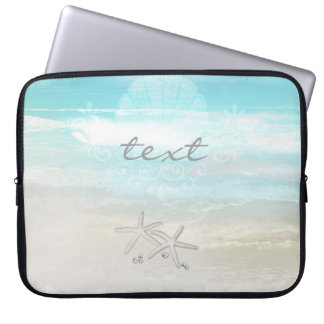Beach White Starfish Elegant Summer Chic Tropical Laptop Sleeve