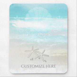 Beach White Starfish Elegant Summer Chic Tropical Mouse Pad