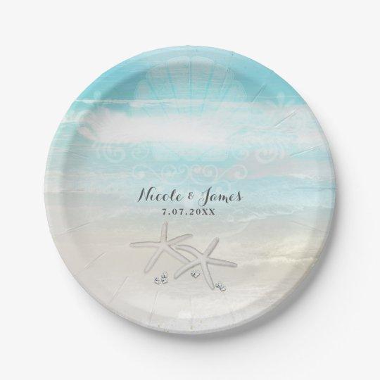 Beach White Starfish Elegant Summer Custom Party Paper Plate