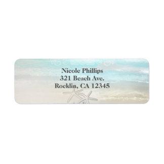 Beach White Starfish Elegant Summer Invitation Return Address Label