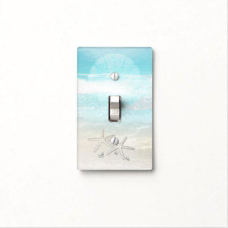 Beach White Starfish Elegant Summer Ocean Light Switch Cover