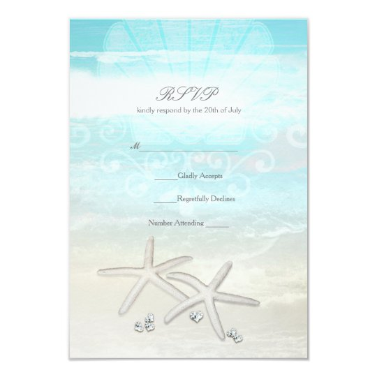 Beach White Starfish Elegant Summer RSVP Card