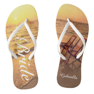 Beach With Chairs In Sand Bride Flip Flops