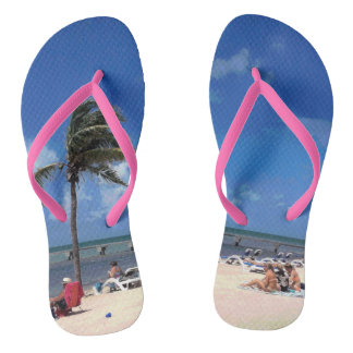 Beach with Coconut Palm Flip Flops