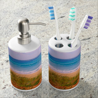 Beach with Dunes and the Turquoise Blue Sea Bathroom Set