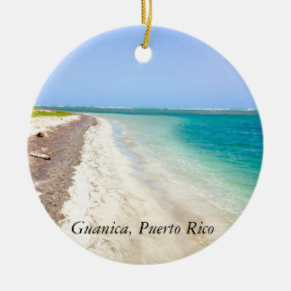 BEACH WITH GREEN BLUE LAGOON, GUANICA, PUERTO RICO ROUND CERAMIC ORNAMENT