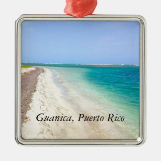 BEACH WITH GREEN BLUE LAGOON, GUANICA, PUERTO RICO Silver-Colored SQUARE ORNAMENT