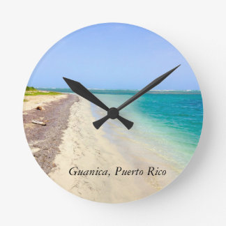 BEACH WITH GREEN BLUE LAGOON, GUANICA, PUERTO RICO WALLCLOCK