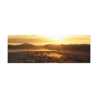 Beach With Hills Sunset Wide Aspect Canvas Print
