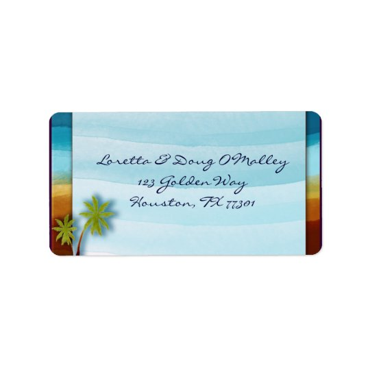 Beach with Palm Tree designer label