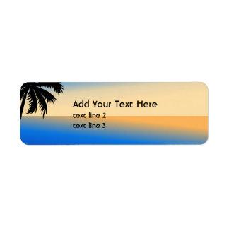 Beach with palm tree return address label