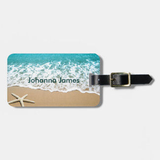 Beach With Starfish on Sand Luggage Tag