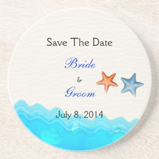 Beach With Starfish Save The Date Beverage Coasters