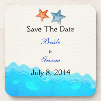 Beach With Starfish Save The Date Coaster