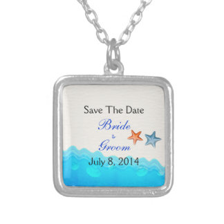Beach With Starfish Save The Date Pendant