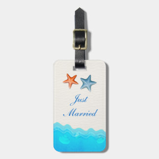 Beach With Starfish Wedding Just Married Luggage Tag