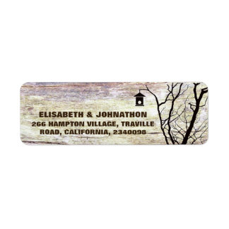 Beach Woodland Birdhouse Silhouette Wedding Return Address Label