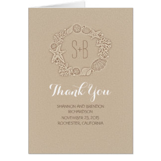 beach wreath initials romantic wedding thank you card